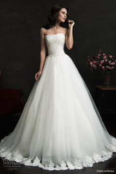 filipina strapless ball gown wedding dress lace bodice hem skirt