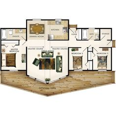 Aurora II Floor Plan | 3 bed, 2 bath, 1200 sq ft. Nice one-level home. Kitchen needs a redesign and either redesign master closet/bath to include laundry or convert storage area to laundry.