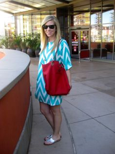 Chevron dress, jack rogers and monogrammed longchamp paris bag