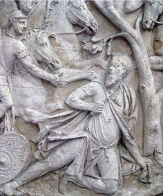 The suicide of the Dacian King Decebal on the Trajan Column Rock Sculpture, Lion Sculpture, Ancient Rome, Ancient History, European Tribes, Trajan's Column, Italian Sculptors, Old King, Cradle Of Civilization