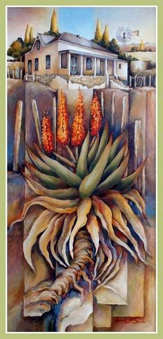 Peter Woolridge List Of Paintings, South African Artists, Cactus Art, Painted Books, Gouache Painting, Acrylics, Painting Inspiration, Mosaics, Flower Art