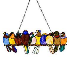 Look at this #zulilyfind! Birds on a Wire Stained Glass Window Panel #zulilyfinds