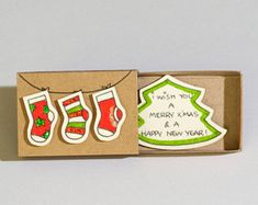 Matchbox Crafts, Matchbox Art, Holiday Cards, Christmas Cards, Cat Scarf, Holly Berries, Xmas Crafts, Merry Xmas, First Christmas