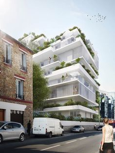 A project for Paris by Hamonic+Masson & Associésassures a willingness to engage in a dialogue with its surrounding environment, and aims to initiate a new way of living together by offering maximal exterior private and collective space.Landscape is an essential element. Vegetation accompanies