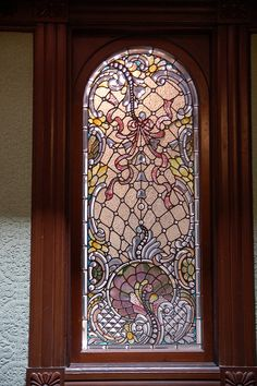 Tiffany Stained Glass at Winchester Mansion (Mystery House) - Magliocco, San Jose, California Stained Glass Door, Tiffany Stained Glass, Tiffany Glass, Stained Glass Designs, Stained Glass Panels, Leaded Glass, Beveled Glass, Glass Doors, Art Nouveau