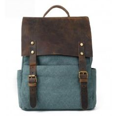 old school blue and leather back pack