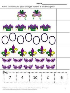 Math: Strong counting skills will help students progress to a strong math foundation. This in turn benefits them as they advance through the grades. Students can join the Mardi Gras fun while practicing their counting skills with this Mardi Gras Counting Fun Cut and Paste worksheet packet