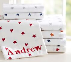 Organic Star Sheet Set extra bedroom label sheets for ted and andrea so they know which are theirs. Little Boys Rooms, Bedroom For Girls Kids, Boy Girl Bedroom, Boy Rooms, Kids Rooms, Playroom Paint Colors, Kids Playroom Storage, Pottery Barn Bedrooms, Star Wars Bedroom