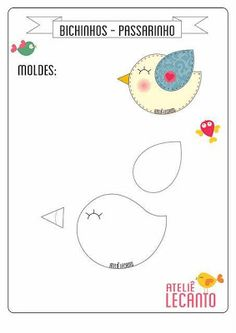 New sewing projects felt quiet books ideas Felt Templates, Applique Templates, Applique Patterns, Sewing Patterns, Bird Template, Bird Applique, Felt Crafts Patterns, Bird Patterns, Sewing Crafts