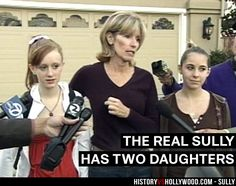 Captain Sully's wife Lorraine and their two daughters, Kelly and Kate. See more pics of the real people behind the Sully movie characters: http://www.historyvshollywood.com/reelfaces/sully/