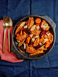 Roasted Root Vegetables with Romesco Sauce.