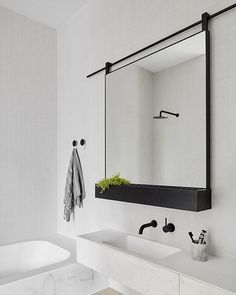 """11.6k Likes, 67 Comments - A Designer's Mind (@adesignersmind) on Instagram: """"Love the idea of this sliding mirror/shelf! Maybe to conceal a cabinet behind??…"""""""