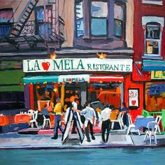 New York City Cafe pittura arte Little Italia NYC Wall Decor Print, New York City Urban Cityscape paesaggio pittura di Gwen Meyerson