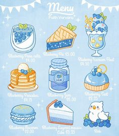 I got a lot of requests to do a blueberry menu! Hope you guys like it💙💙💙 Cute Food Drawings, Cute Animal Drawings Kawaii, Arte Do Kawaii, Kawaii Art, Kawaii Wallpaper, Cartoon Wallpaper, Cute Food Wallpaper, Kawaii Stickers, Cute Stickers
