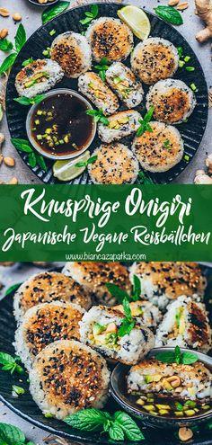 Vegan Japanese Food, Japanese Rice Dishes, Yaki Onigiri, Onigiri Recipe, Vegetarian Recipes, Healthy Recipes, Vegan Dishes, Soul Food, Asian Recipes