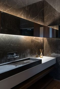 Luxury Bathroom Inspiration - Bring home the inspirational feel of a bathroom worth building and saying has the element of luxury. Design your bathroom with class and style through The Panday Group. Dark Bathrooms, Beautiful Bathrooms, Bathroom Black, Bathroom Modern, Bathroom Marble, Masculine Bathroom, Bathroom Wall, Small Bathroom, Master Bathroom