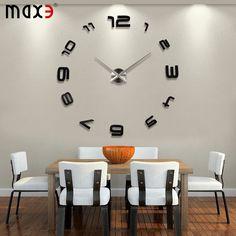 Large Contemporary Wall Clocks | big mirror wall clock Modern design,large decorative Black wall clocks ...