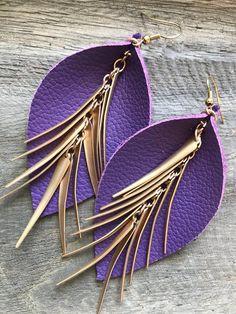 Best Seller - Purple Leather Leaf Earrings w/Sassy Spikes - Leather Earrings - Leaf Earrings - Gift Leaf Earrings, Unique Earrings, Diy Earrings, Leather Earrings, Leather Jewelry, Fashion Earrings, Earrings Handmade, Handmade Jewelry, Leather Leaf