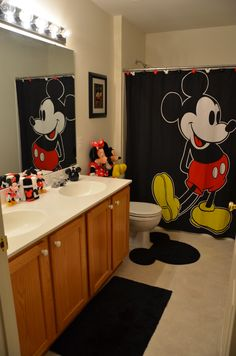 Love the rug and curtain! May be a bad idea to have stuffed animals in the bathroom though