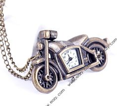 80cm Vintage Analog Motor Bicycle Pocket Watch Chain Pendant Necklace