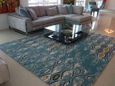 Contemporary, Modern, Pattern, Design, Interior Design, Home Décor, Blue, Yellow, Color, Bold, Coastal, Beach House, Living Room, Area Rug, Clean, Simple, Art