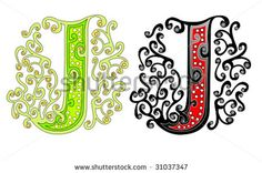 Illustration of there is a letter J with elements which you can add and make form of letter vector art, clipart and stock vectors. Tangle Doodle, Doodle Art, Zentangle, Letter J Tattoo, Ink Link, Cake Lettering, M Letter, Letter Vector, Vector Art