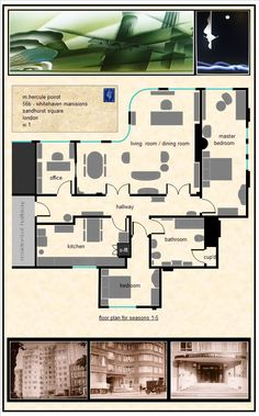 """Poirot's apartment diagram, """"Whitehaven Mansions"""" (Seasons 1-5). I am obsessed with this set."""