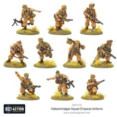 Warlord Games 402212105 - Fallschirmjager Squad (tropical Uniform) for sale online Bolt Action Game, Bolt Action Miniatures, Mg34, Italian Campaign, Model Supplies, Paratrooper, Army Soldier, North Africa, Squad