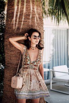 Dress: viva luxury, blogger, summer dress, printed dress, print, beach dress, chanel bag, beige bag, shoulder bag, beach, summer holidays, gold choker - Wheretoget
