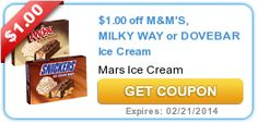New high-value $1/1 Mars Ice Cream printable coupon (Snickers, Twix, M&M's, Dove or Milky Way!) - http://printgreatcoupons.com/2013/12/05/new-high-value-11-mars-ice-cream-printable-coupon-snickers-twix-mms-dove-or-milky-way/