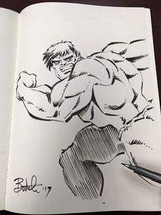 HULK brush pen sketch direct to paper. No rough sketch.