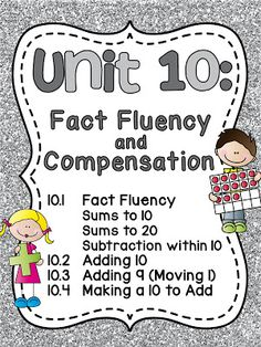 First Grade Math Unit 10 Fact Fluency by Miss Giraffe Kindergarten Math Worksheets, Teaching Math, Teaching Ideas, Teaching Resources, Second Grade Math, First Grade, Grade 1, Math Fact Fluency, Math Strategies