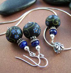 Journey Earrings Artisan Glass Bead with by StoneStreetStudio