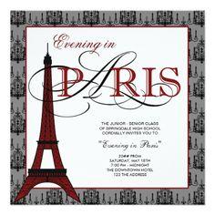 Prom Invitation - Paris Theme - A Night in Paris ...