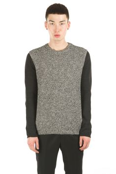 MVIO  Patched Sleeves Round Pullover
