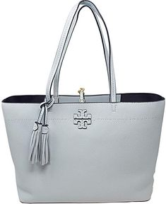 850a2dd80159 Amazon.com  Tory Burch Pebbled Leather McGraw Tote (Black Royal Navy)  Tory  Burch  Shoes