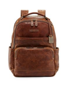 N2Q3A Frye Logan Men's Pull-Up Leather Backpack, Cognac