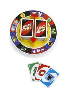 Ready to give UNO a spin? The UNO classic card game goes revolutionary! When a spin card is played, someone must spin the wheel.