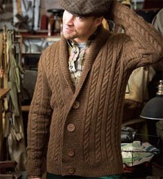 Man's Cabled Cardigan by Josh Bennett from Vogue Knitting
