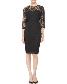 3/4-Sleeve Lace Dress from Bergdorf Goodman