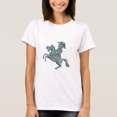 #horse #riding - #American Cavalry Officer Riding Horse Prancing Car T-Shirt