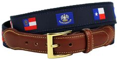 Southern States' Flags Leather Tab Belt in Navy on Navy Canvas by Country Club Prep #$50-to-$100