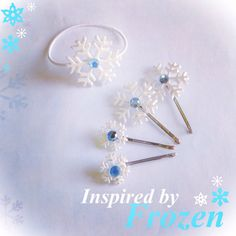 Super cute Elsa hair snowflake bobby pins and hair band inspired by Frozen. pearlpolkadots on Etsy; https://www.etsy.com/listing/204187255/snow-flake-hair-pins-frozen-inspired