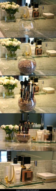 Clever Storage Ideas That Will Enlarge Your Space For when I have counter space in the bathroom? PQT: DIY Pretty Makeup Brush Holder - Pretty with PeggyFor when I have counter space in the bathroom? PQT: DIY Pretty Makeup Brush Holder - Pretty with Peggy Bathroom Organization, Makeup Organization, Bathroom Storage, Bathroom Ideas, Storage Organization, Organizing Ideas, Vanity Bathroom, Perfume Organization, Bathroom Cabinets