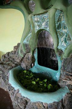 Phoenix Earthship water fall by Earthship Kirsten, via Flickr