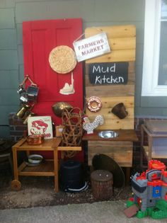 #Mud Kitchen. Its made from all recycled materials and with used pots and pans. This would be fun to have outside next to swings in kiddie play area.