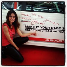 "Catrinel Menghia the girl, with the Abarth ""Che cosa guardi? Best Small Cars, Catrinel Menghia, Fiat Abarth, Most Beautiful Models, Road Trip, Abs, Racing, Feelings, Red Background"