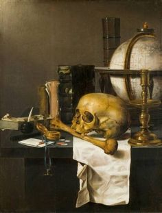 """I have seen all things that are done under the sun, and behold, all is vanity and a chase after wind."" Ecclesiastes // Vanitas // c. Renaissance, Memento Mori Art, Vanitas Paintings, Vanitas Vanitatum, Baroque Painting, Still Life Artists, Horror Decor, Dance Of Death, Dutch Golden Age"