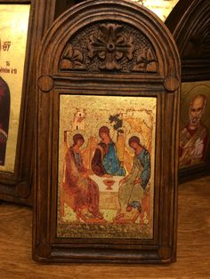 Byzantine Icon of Holy Trinity- handmade Woodcut Greek Orthodox   | eBay