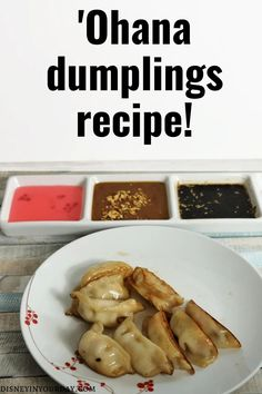 Ohana dumplings recipe - recreate some of your favorite Ohana dishes at home, like this easy Disney recipe for the Ohana dumplings! Served with 3 delicious dipping sauces - sweet and sour sauce, ginger garlic sauce, and peanut sauce. Disney in your Day #disneyrecipes #ohana #ohanadumplings #dumplingsrecipe #disneyfood Disney Drinks, Disney Food, Disney Parks, Dumpling Recipe, Dumplings, Food Themes, Food Ideas, Disney Inspired Food, Disney On A Budget